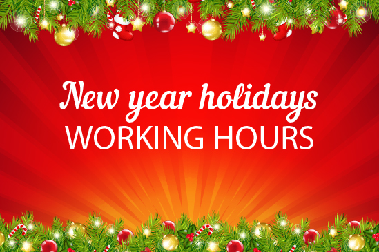 NEW YEAR HOLIDAYS WORKING HOURS